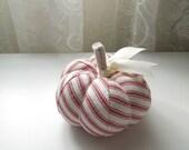 Classic Red Ticking Pumpkin Pincushion