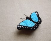 Hand Embroidered Blue Morpho Butterfly Brooch