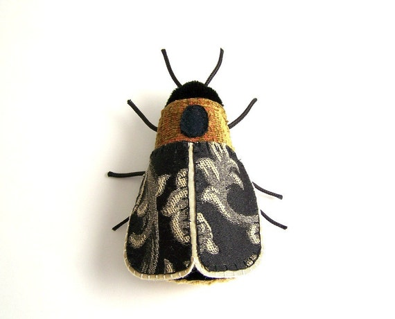 Hand Sewn Textile Art Decorative Lightning Bug