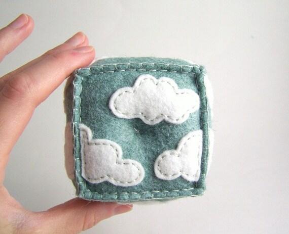 Cloudy Hand Embroidered Wool Felt Pincushion