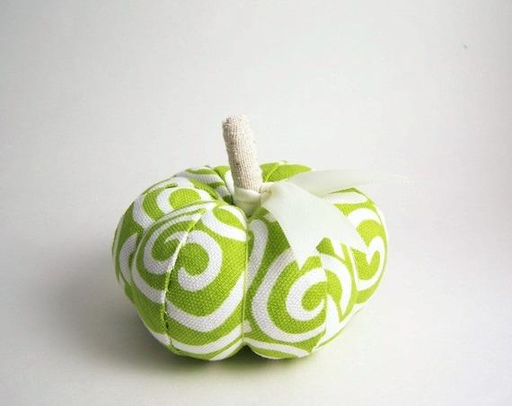 Handmade Pumpkin Pincushion in Lime Green