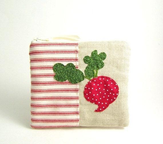 Red Radish Linen Zipper Pouch