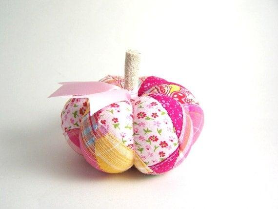 Handmade Pink Patchwork Pumpkin Pincushion