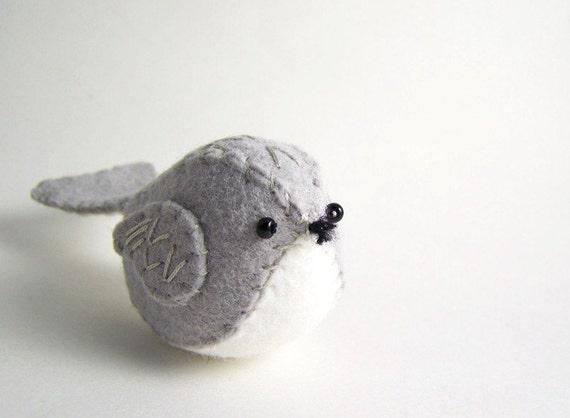 Little Gray Felt Bird