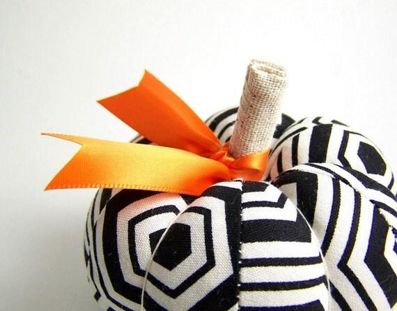 Pumpkin Pincushion in Black and White Mod