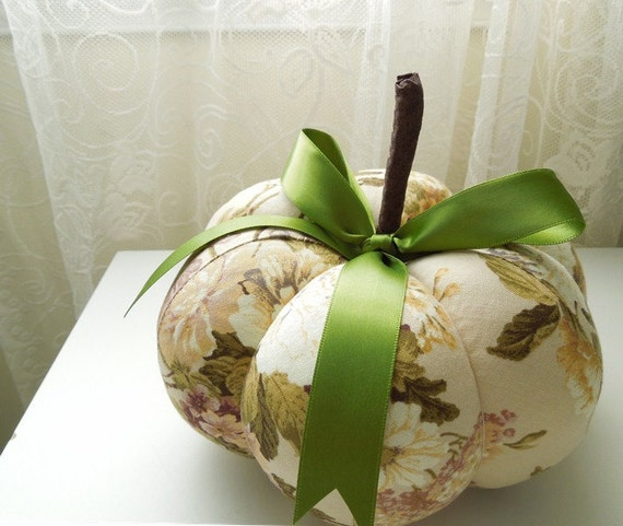 Large Floral Garden Decorative Pumpkin
