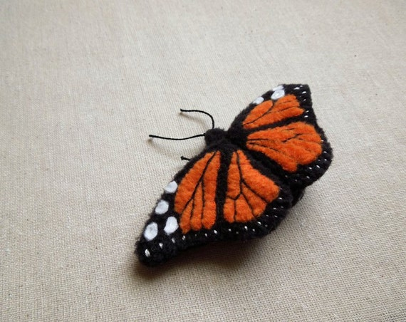 Embroidered Monarch Butterfly Brooch Orange and Black