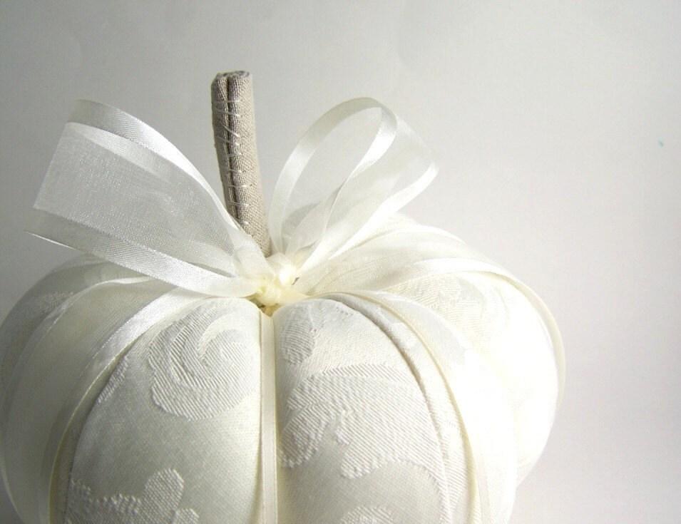 Ivory Autumn Or Cinderella Wedding Ring Pumpkin Pillow