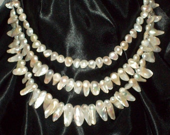 Raw Pearl 3 tiered Necklace
