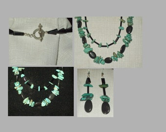 Southwestern native American Turquoise and Onyx Necklace and Sterling silver Earwires