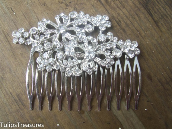 Bridal Hair Comb, Rhinestone Hair Comb,  Silver Hair Comb,  Bridal Hair Jewelry,, Wedding Hair comb, Hair Fascinator,  Hair Pin