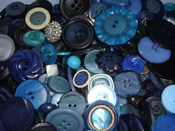 Blue BUTTONS 50 piece random selection of Vintage to Modern Sewing Buttons