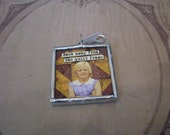 """Quilt Charm back away from the quilt frame and no one gets hurt 1.5"""" soldered pendant"""