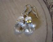 Simple elegance pearl and crystal earrings