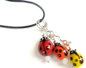 Pendant  black leather necklace Moonstone Glass bump beads silver  - Necklace Me and MyLadies- Valentine's gift for her under 25