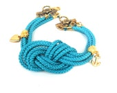 Turquoise Nautical bracelet, Sailor knot, multiple cord, Summer 2012