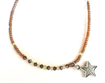 Earthy tones Anklet / Topaz  beads / Peridot beads / Sea star charm / beach accessories / Delicate anklet or bracelet / gift for her