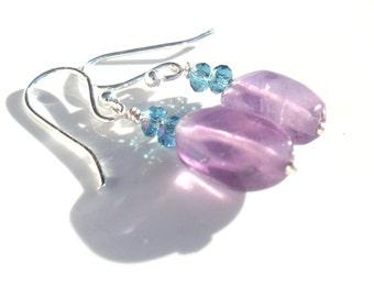 Sterling Silver Earrings  Amethyst Aquamarine crystal Dangle earrings  gift for her under 20