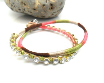 Earth tones Friendship bracelet  Handwoven in multicolored earthy tones crystal chain leather wrap