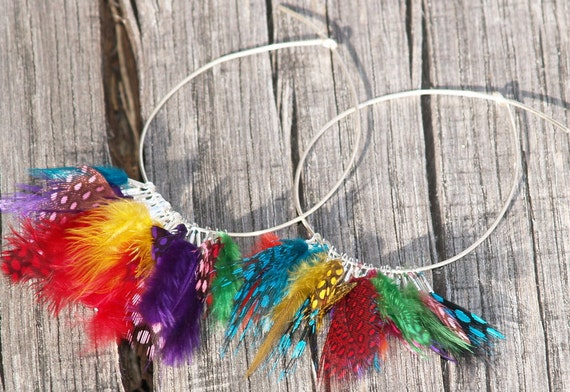Feathers Hoop Earrings,  Sterling Silver hoops  Colorful mini feathers earrings Boho Rainbow Earrings Bohemian Tribal Chic Look Gift for her