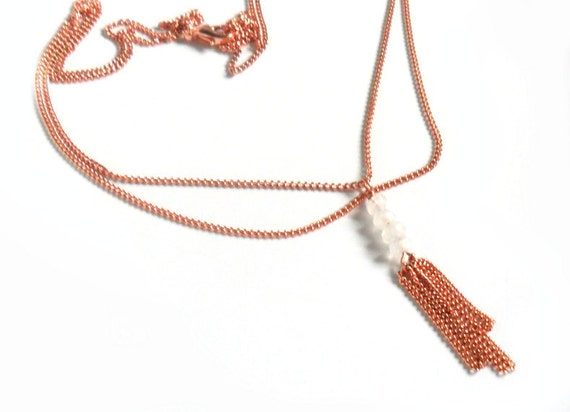 Layered Necklace Copper Tassel, Moonstone, delicate necklace, metallic, minimalist, copper jewelry