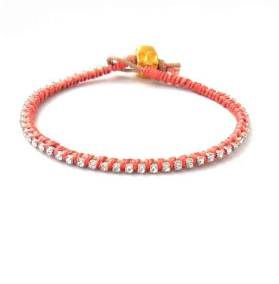 Dainty rhinestone chain Leather coral silk  Friendship Bracelet  Silk handwoven Fashion bling