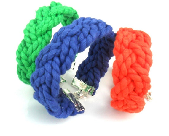 Nautical cotton bracelet / Sailor bracelet / Color Block bracelet /  Summer Beach Bracelet  Friendship bracelet  Cotton Gift for Her / Him