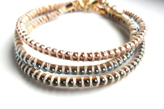 Leather Bracelet Set Pastel Fashion Leather Ball chain Soft Colors Copper Gunmetal Neon Blue Set of Three Boho chic Beach Bracelet For Her