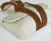 camera case or wristlet, canvas with leather straps