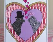 Valentine Card with Pigeons - Straight version - Love Birds