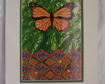 Butterfly Illustration Print with Matt - Monarch Butterfly - Digital Collage - Mexican Textiles