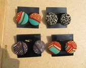 Pick One (1) Multicolor African Wax Print and Cheetah Print Post Earrings