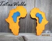 Africa-On-Africa Pale Orange & Blue XLarge Earrings