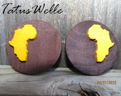 Yellow and Brown Wooden A-Round-Africa Post Earrings