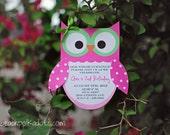 Owl Birthday Invitations by Palm Beach Polkadots