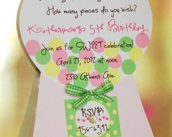 10 Bubble Gum Birthday Invitation Invite