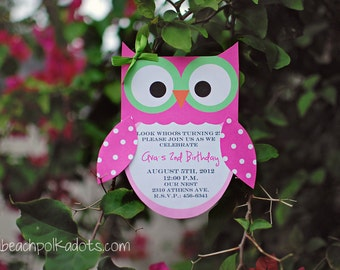 10 Owl Birthday Invitations by Palm Beach Polkadots