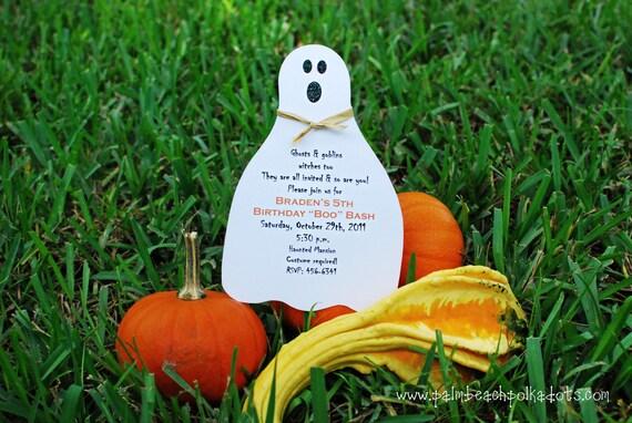 10 October Ghost Halloween fall Birthday Invitations by Palm Beach Polkadots