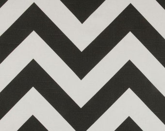 Premier Prints Zippy Slub Charcoal- Charcoal and ivory/white Chevron