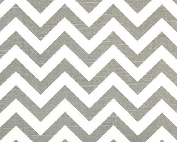 Premier Prints ZigZag Slub Ash/White - Gray White Chevron