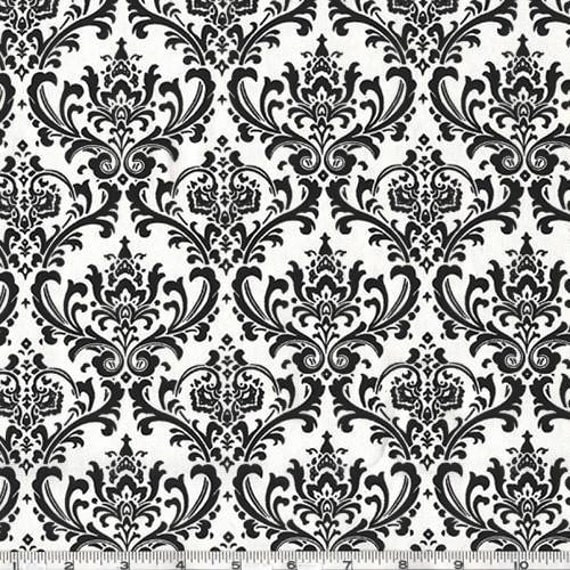 Madison Black White Damask Home Dec Fabric by Premier Prints Fabric