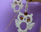 Owl Earrings White Tatted