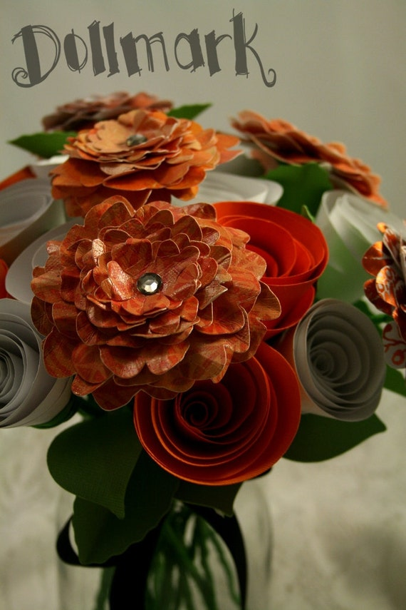 Shades & Patterns in Orange Paper Flower Bouquet - Gifts, Anniversary, Mother's Day