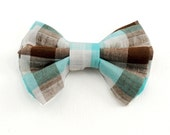 Bow Tie - Brown Blue White Plaid Bow Tie - Dorset - Boys Bow Tie and Mens Bow Tie Sizes - Freestyle or Pre-tied
