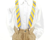 Suspenders - Boys Suspenders - Yellow Blue Stripe Silk - Bebington - Matches our neckties and bow ties