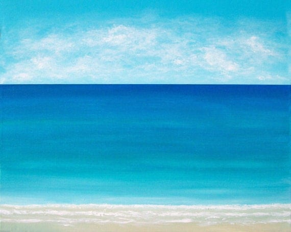 Beach Painting Ocean Painting Modern Beach Art  Contemporary Abstract Seascape Tropical Seascape Caribbean Beach Original Seascape