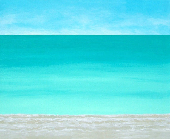 Beach Painting Modern Ocean Contemporary  Artwork Abstract Blue Tropical Caribbean Seascape Water