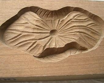 Vintage Japanese Kashigata Sweets Mold - Lotus Leaf (B)