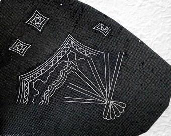 Japanese Stencil  Kimono Katagami Showa Period Unique Design Vintage