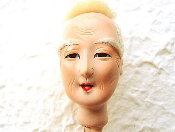 Vintage Japanese  Doll Head Hina Matsuri Old Man Body Part